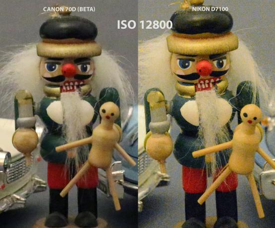Canon 70D vs Nikon D7100 ISO 12800
