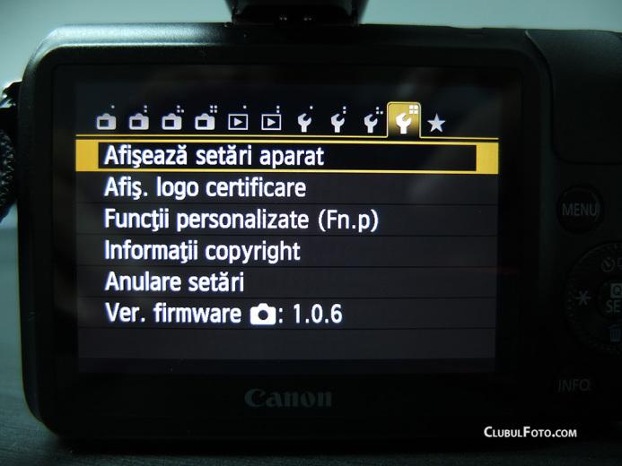 Meniul lui Canon EOS-M