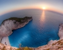Navagio Bay at sunset in Zakynthos, Greece