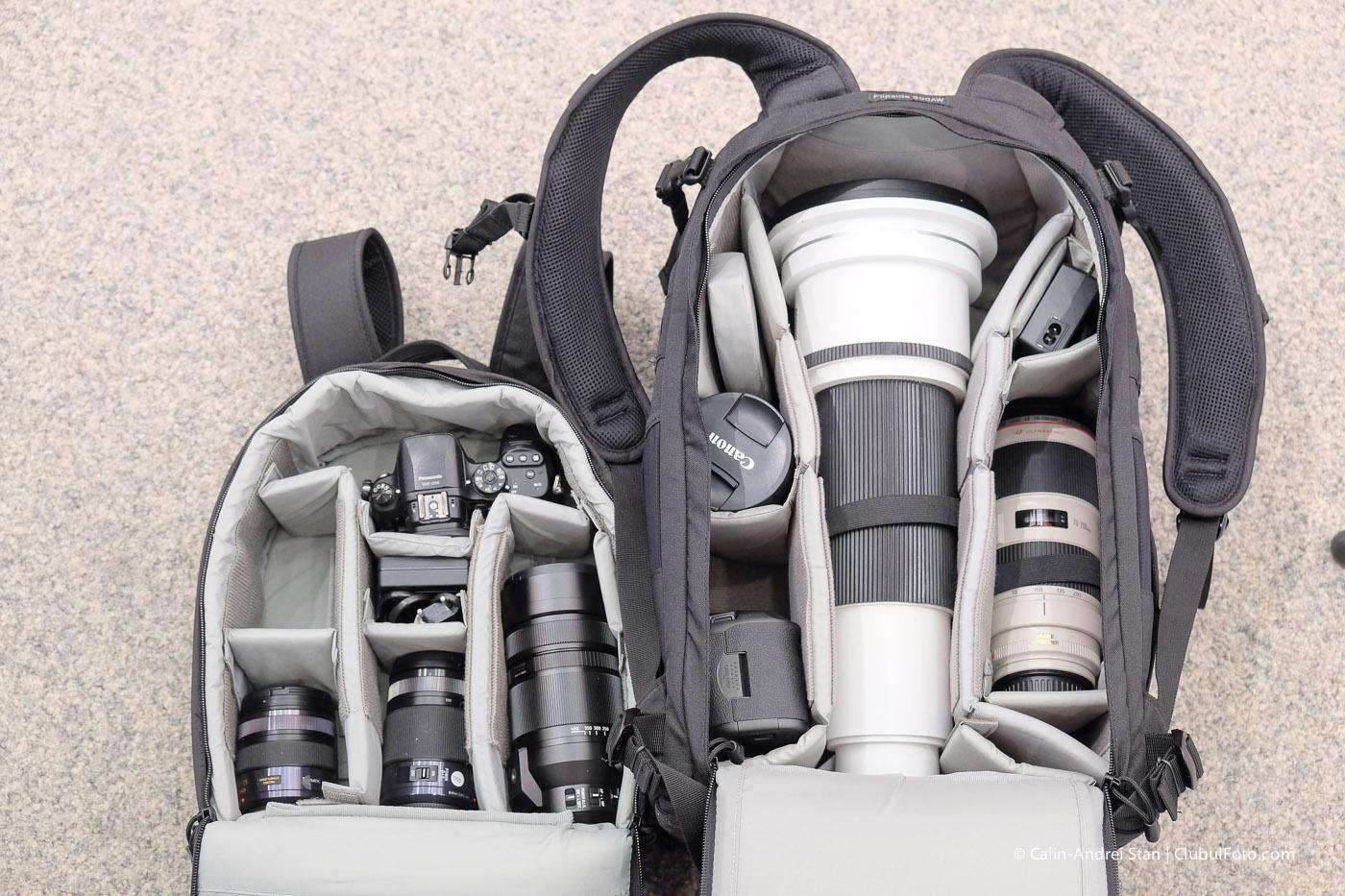 Un aparat foto mirrorless cu 2-3 obiective ocupa jumatate din spatiul unui DSLR cu obiective echivalente