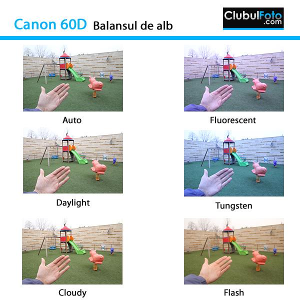 Canon 60D: setarile balansului de alb