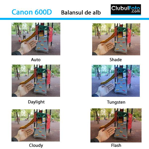 Canon 600D - Setarile balansului de alb