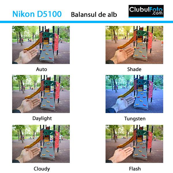 Nikon D5100 - Setarile balansului de alb