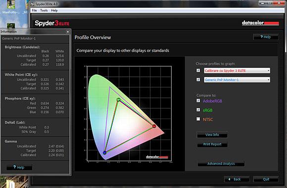 Spyder 3 Elite: Comparatie intre profilele de culoare