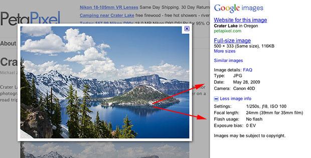 Google Images, acum si cu EXIF