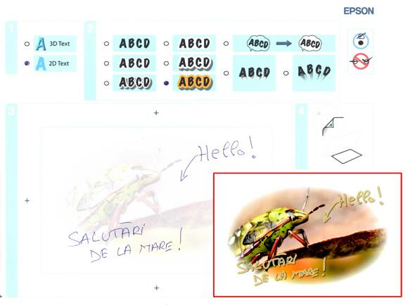 Macheta pentru setarile cartii postale si rezultatul (in chenarul rosu)
