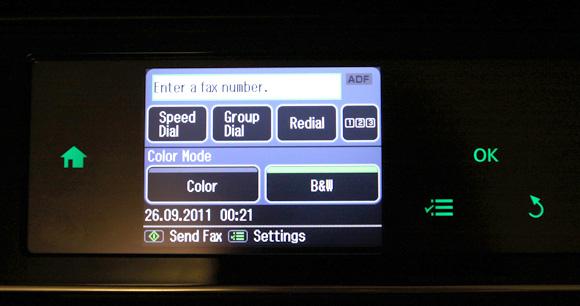 Meniul functiei Fax