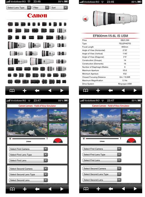 Aplicatia CanonSGLens pentru iPhone / iPad