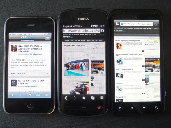 Nokia 808 Pureview (in centru), flancat de iPhone 3GS si HTC Evo 3D