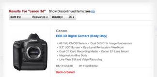 Canon EOS 3D la B&H