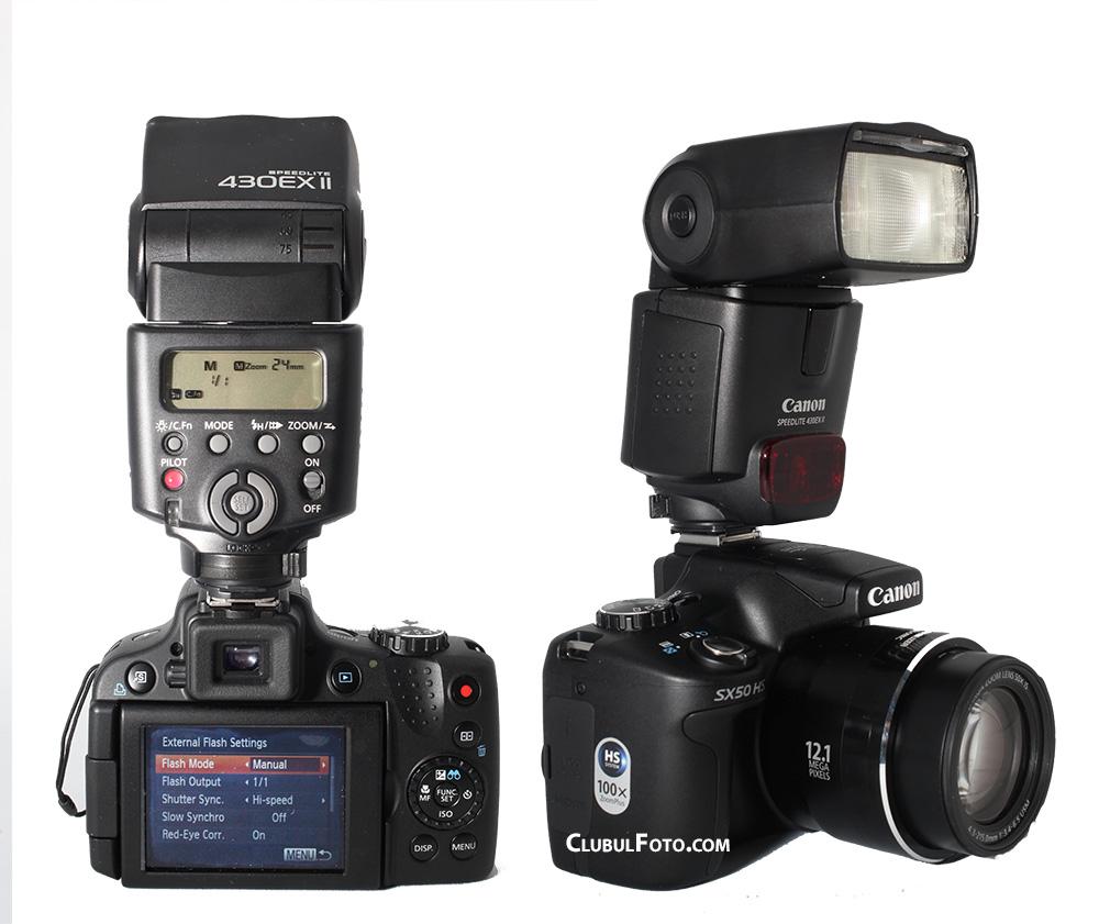 Canon SX50 HS cu blitz Canon 430 EX II