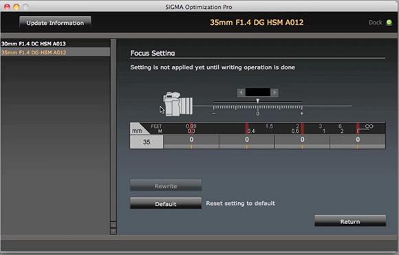 Ajustarea focusului la Sigma 35mm f/1.4 cu Sigma USB Dock