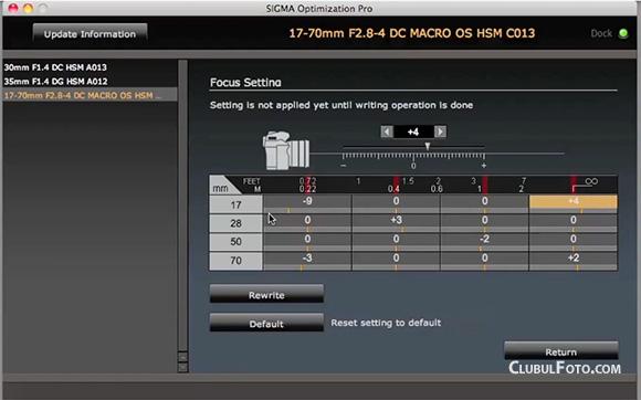 Ajustarea focusului la Sigma 17-70mm f/2.8-4 cu Sigma USB Dock