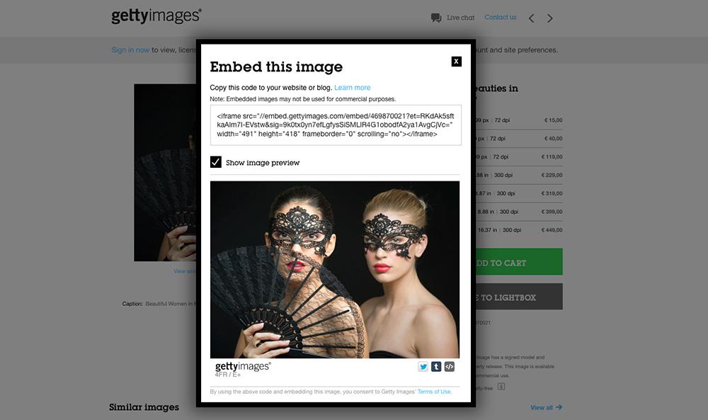 Utilizarea gratuita a fotografiilor Getty Images: generarea codului de embed