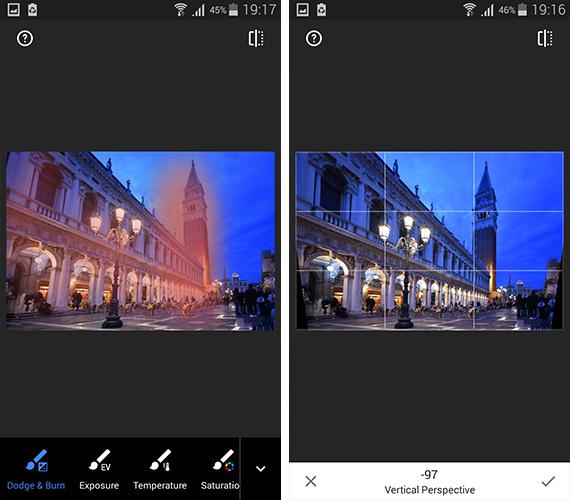 Snapseed 2 - Brush Tool si functia de corectare a perspectivei