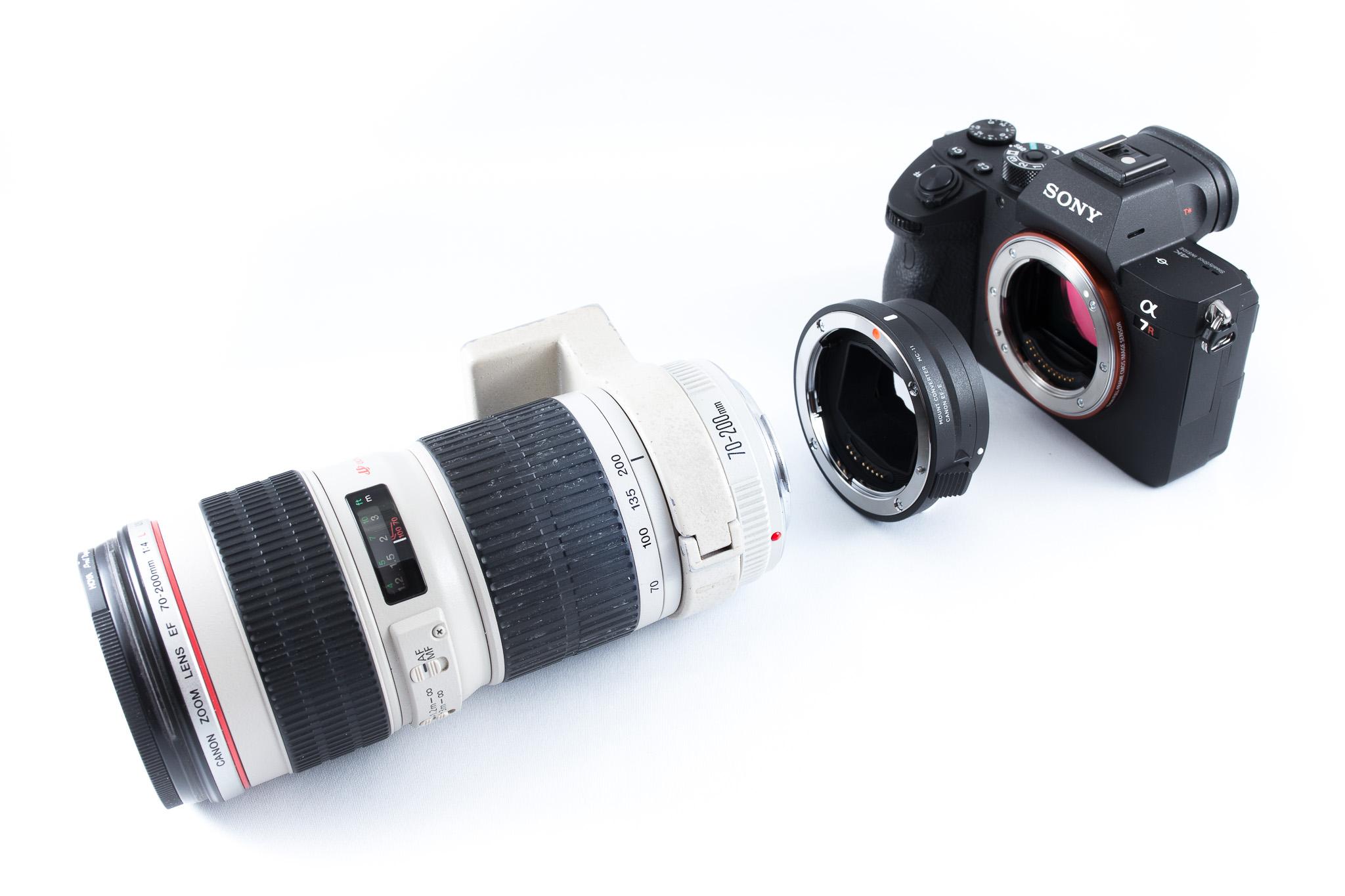 Canon 70-200mm f/4L USM pus pe Sony A7 R III cu Sigma MC-11
