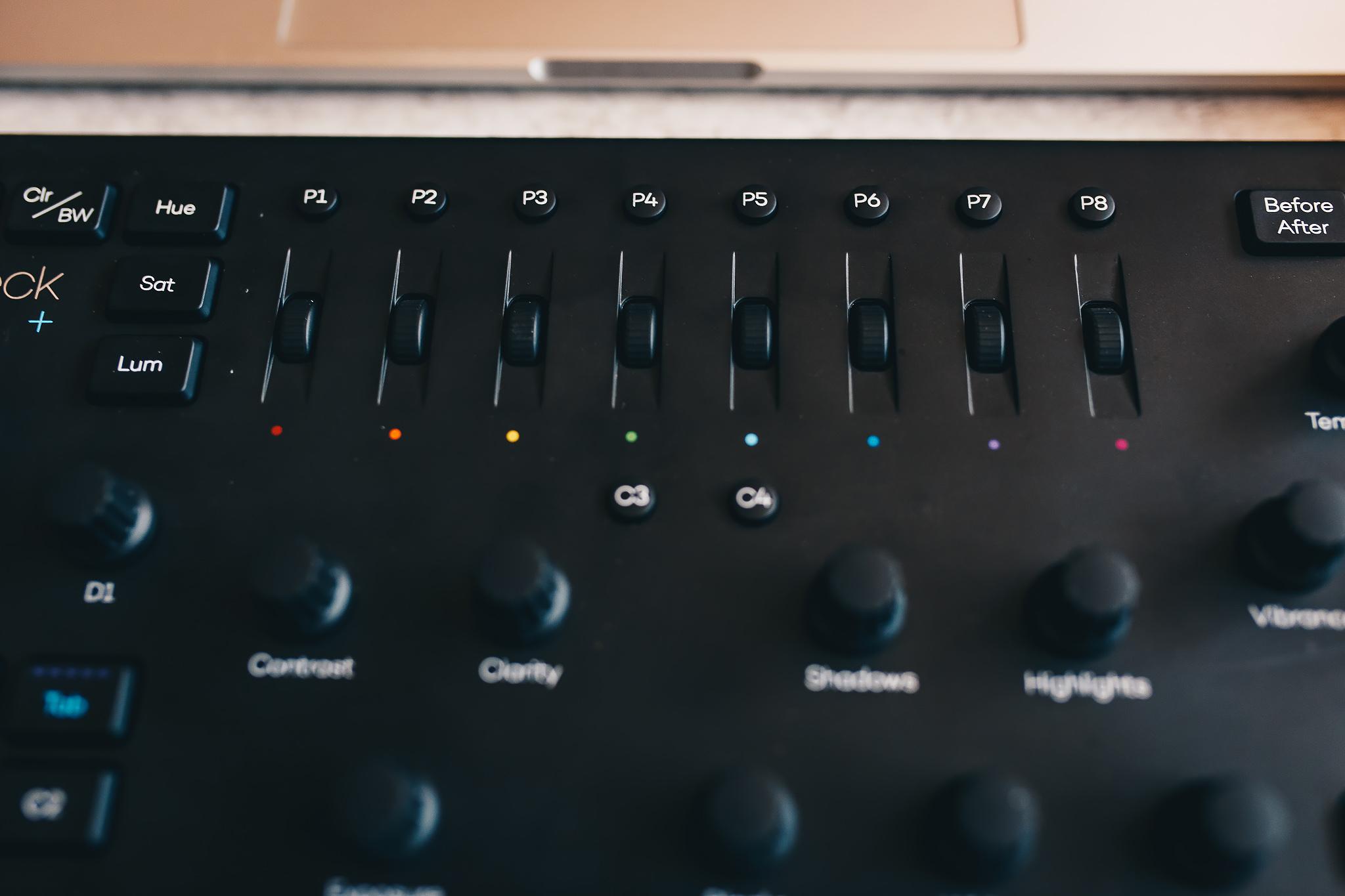 Sliderele pentru editare pe canale de culoare
